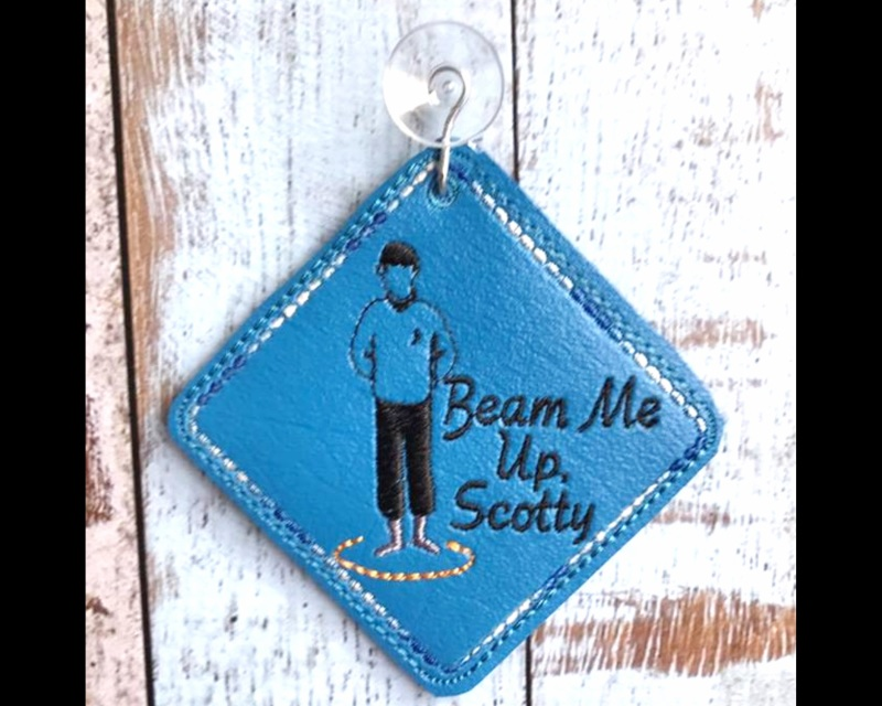Beam Me Up Scotty Car Sign Machine Embroidery Pattern