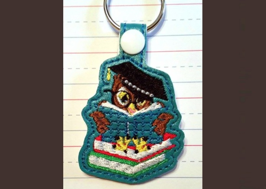 Bookowl Key Fob Machine Embroidery Pattern